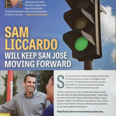 Official Liccardo Campaign Mailer – Moving Forward