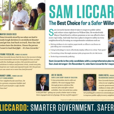 Official Liccardo Campaign Mailer – Willow Glen