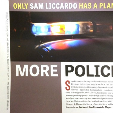 Official Liccardo Campaign Mailer – Police Plan