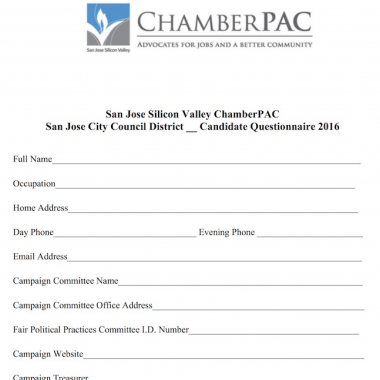 ChamberPAC 2016 Candidate Questionnaire