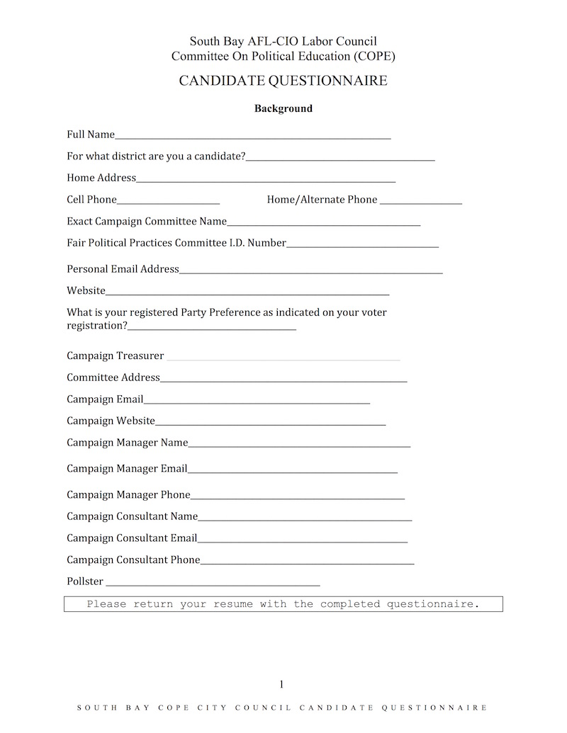South Bay Labor Candidate Questionnaire1