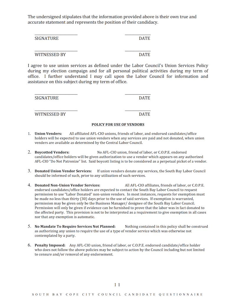 South Bay Labor Candidate Questionnaire11